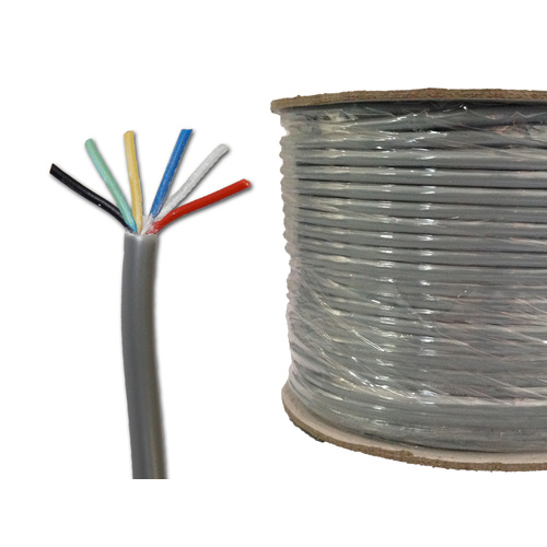 SECURITY 6 CORE 14 x 0.20MM CABLE 100M REEL TINNED COPPER GREY